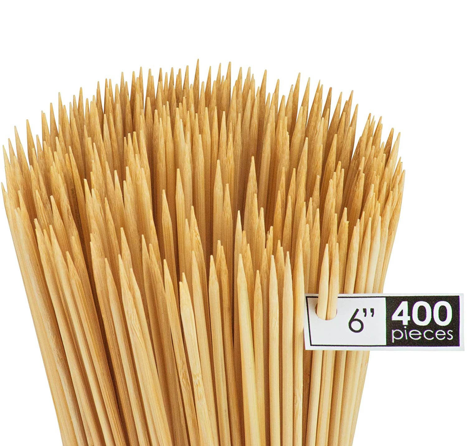 DecorRack 400 Natural 6 inch Bamboo Skewer Sticks, Natural Wooden Barbecue Shish Kabob Skewers, Best for Grill, BBQ, Kebab, Marshmallow Roasting or Fruit Sticks (Pack of 400)