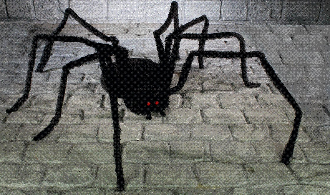 large 2 metre black spider halloween decoration display prop amazoncouk kitchen home - Giant Spider Halloween Decoration