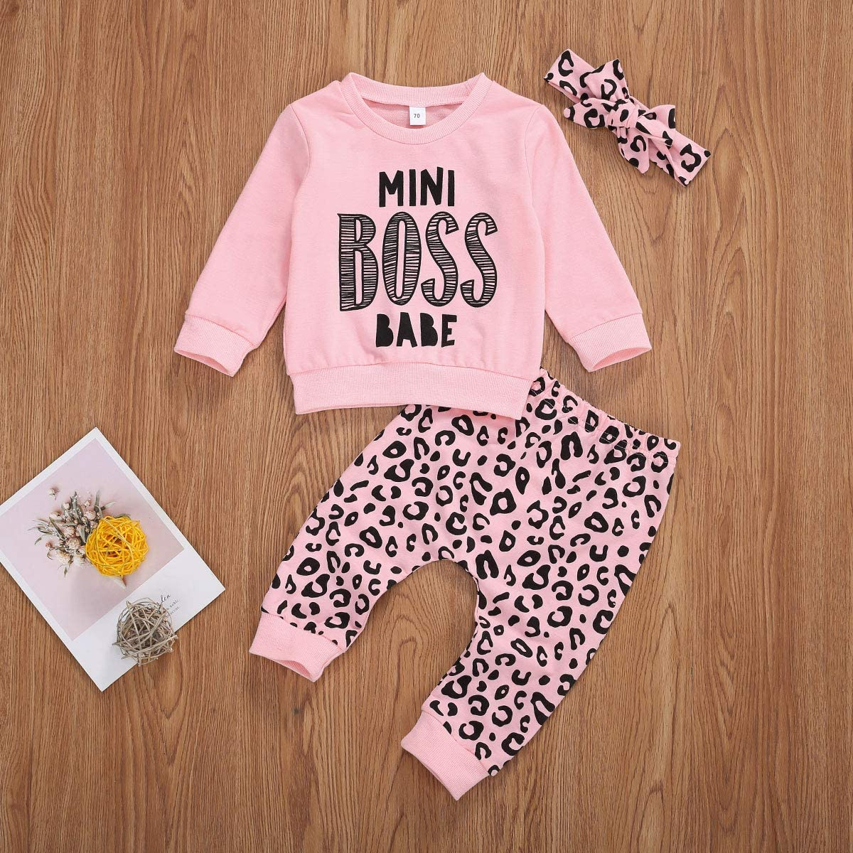 Infant Newborn Baby Girl Leopard Outfit Long Sleeve My Aunt Says Yes Shirts Tops Long Pants Heaband Clothes