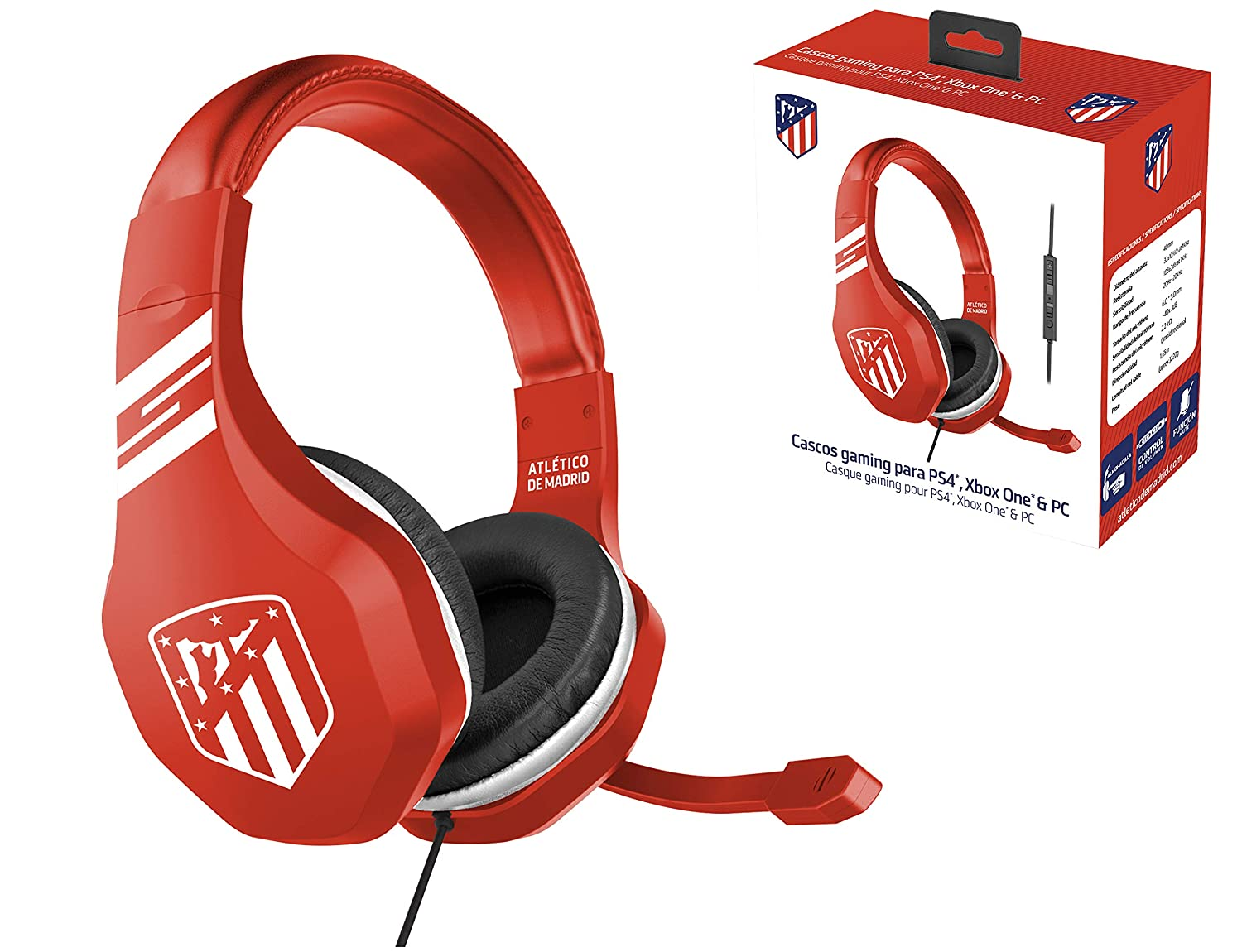 ATM Atletico de Madrid Auriculares gaming - accesorio PS4, PS4 Pro, Xbox One, PC: Amazon.es: Videojuegos