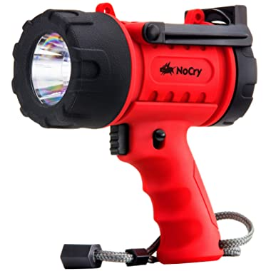NoCry 18W Waterproof Rechargeable Flashlight (Spotlight) with 1000 Lumen LED, Detachable Red Light Filter, Wall and Car Charger Attachments, Red
