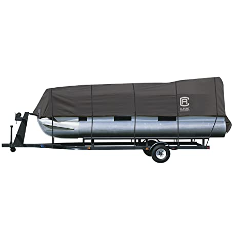 Delexe Trailerable All Weather Pontoon boat cover Grey Fits 25/' 28/' L