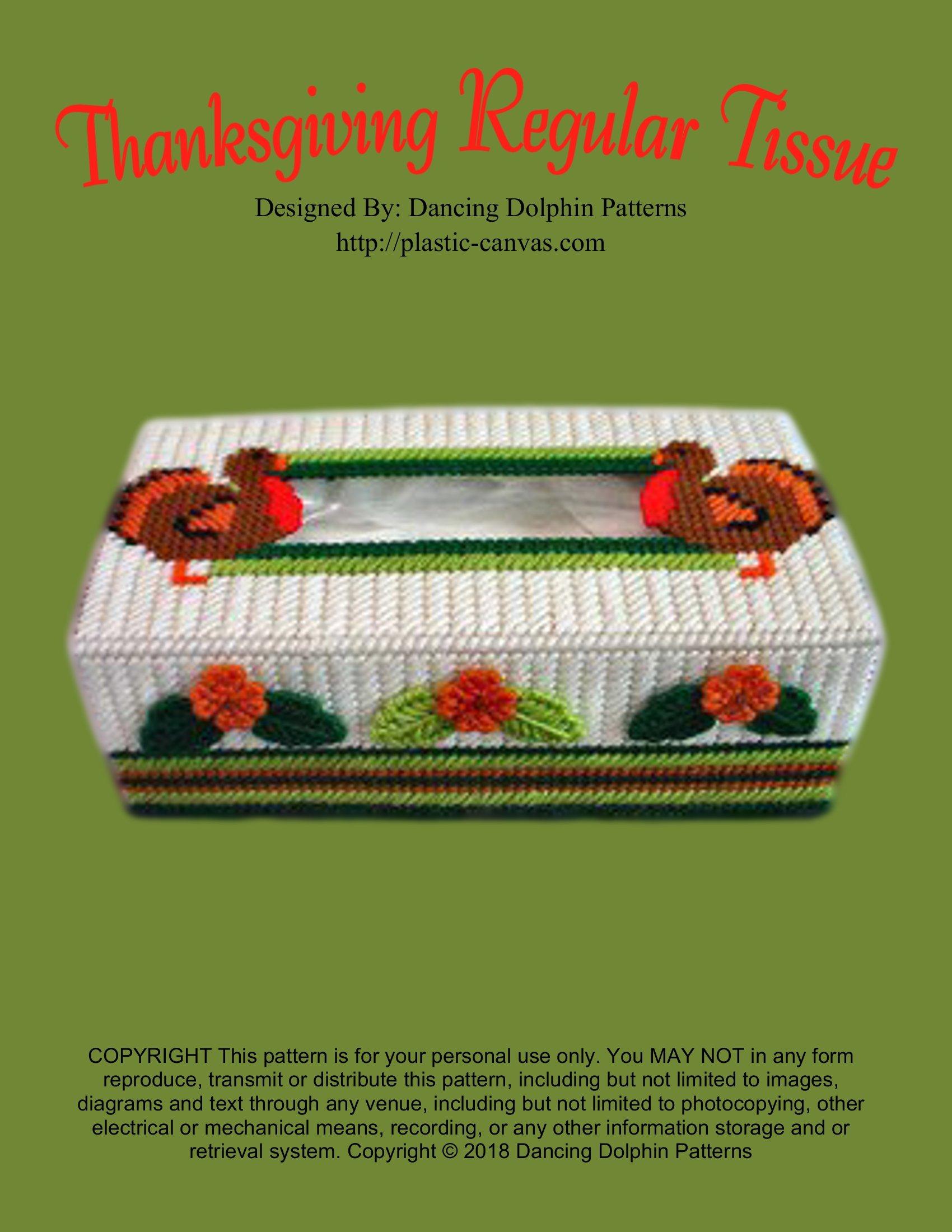 Thanksgiving Regular Tissue Box Cover  Plastic Canvas Pattern  English Edition