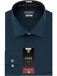 adcaa11ceca Van Heusen Mens Flex Collar Regular Fit Solid Spread Collar Dress Shirt  Dress Shirt