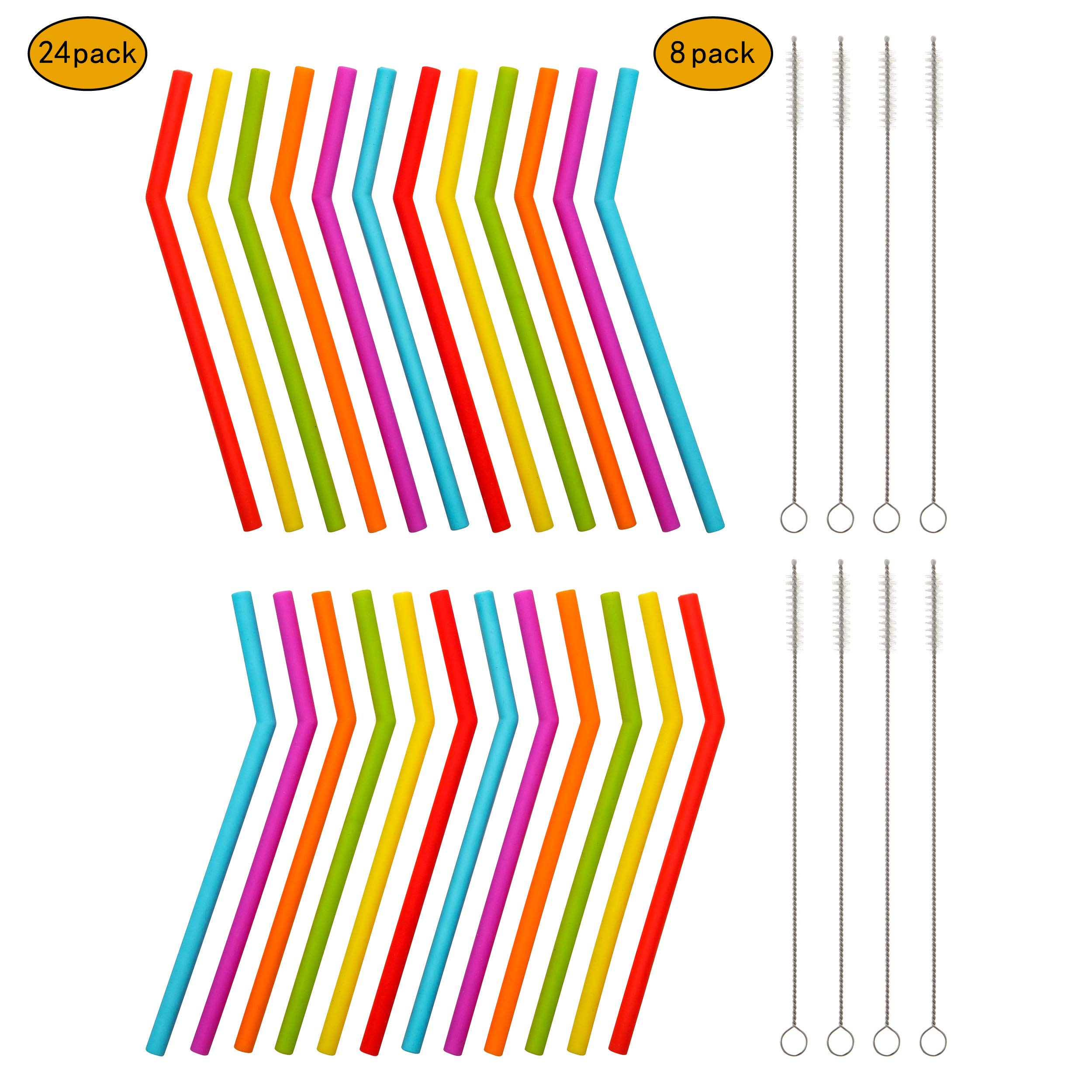 Reusable Silicone Straws for Toddlers & Kids - 24 pcs Flexible Short Drink 6.7'' Straws for 6-12 oz Yeti/Rtic/Ozark Tumblers & 8 Cleaning Brushes - BPA Free, Eco-Friendly,no Rubber Tast by Veskaoty