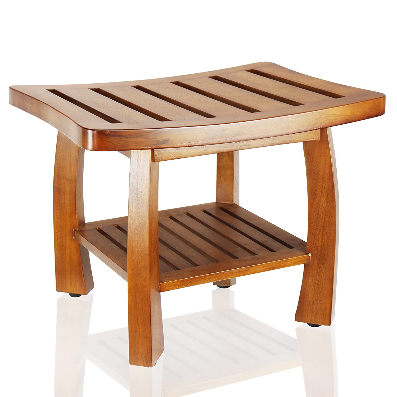 Amazon.com: Oceanstar Solid Wood Spa Bench with Storage Shelf, Teak ...