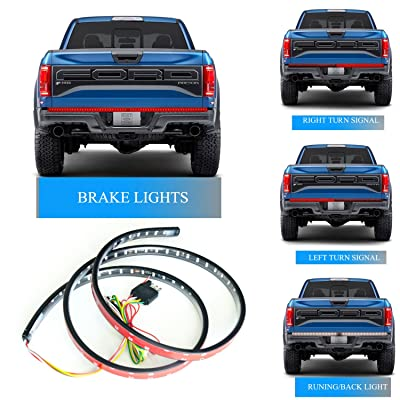 Homeyard 60Inch LED Truck Tailgate Light Strip Bar 90LEDs Red/White Reverse Stop Turn Signal Running for Pickup SUV RV Trailer: Automotive