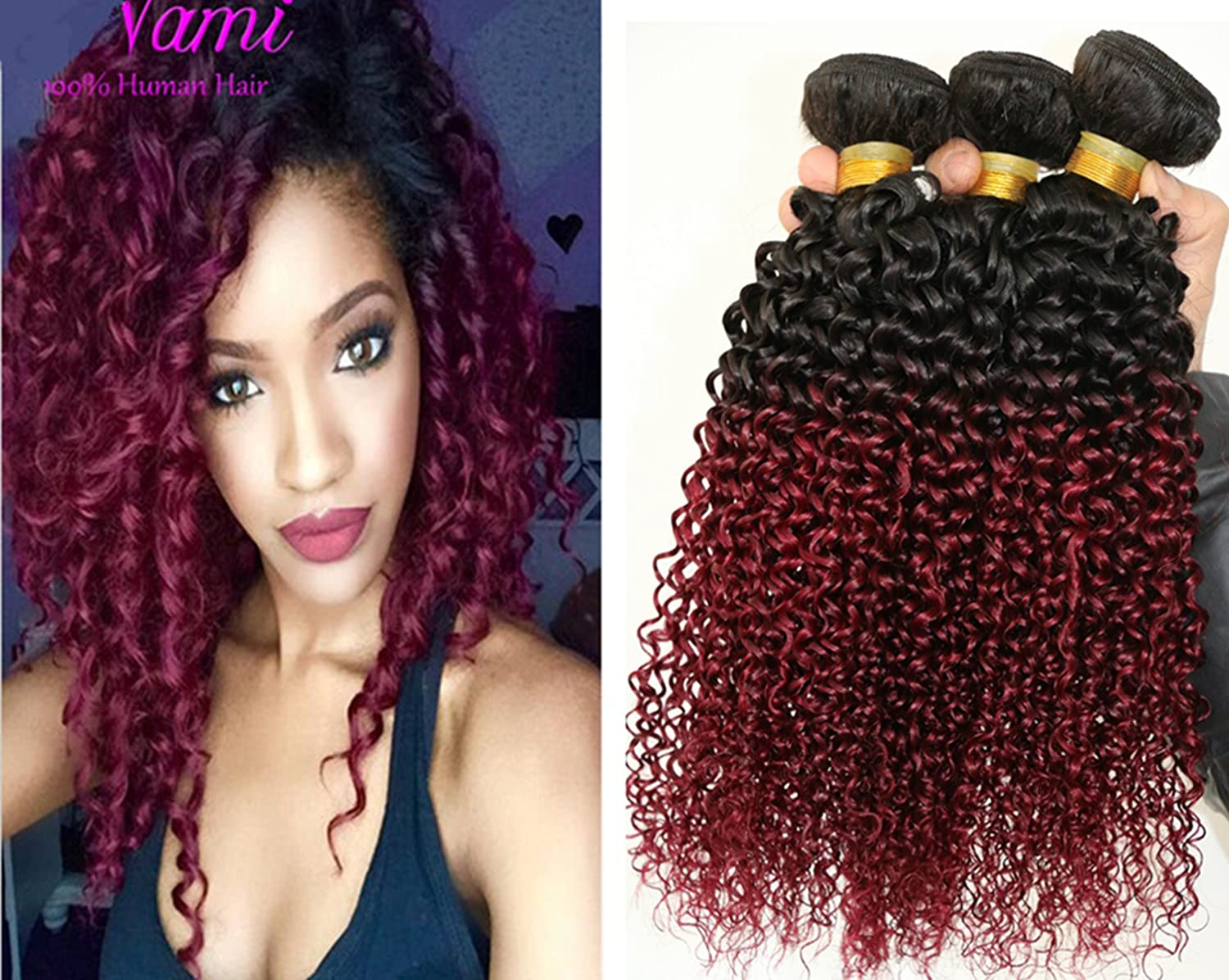 Amazon 3 bundles brazilian curly weave ombre two tone black amazon 3 bundles brazilian curly weave ombre two tone black burgundy 100g original human hair 7a cheap jerry curl virgin brazilian hair 10 10 10 pmusecretfo Image collections