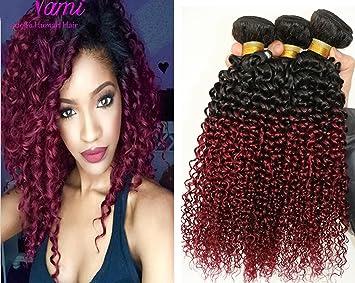 Amazon 3 bundles brazilian curly weave ombre two tone black 3 bundles brazilian curly weave ombre two tone black burgundy 100g original human hair 7a cheap pmusecretfo Image collections