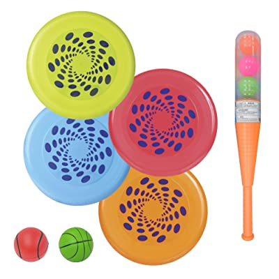Party City Outdoor Games Run and Fun Kit, Includes Vortex Flying Discs, Foam Balls, Bat and Ball Set, 10 Pieces: Kitchen & Dining