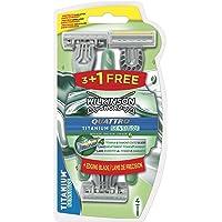 Wilkinson Sword Quattro Titanium Sensitive - Pack de 3 +1 Cuchillas de afeitar desechables para hombre con cuatro hojas…