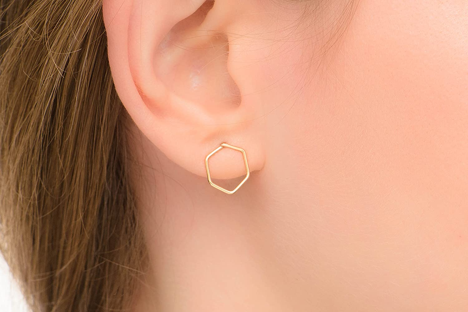 Hexagon Earrings Geometric Big Studs 14k Gold Filled Handmade