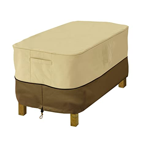 Classic Accessories Veranda Rectangular Patio Ottoman/Side Table Cover    Durable And Water Resistant Patio