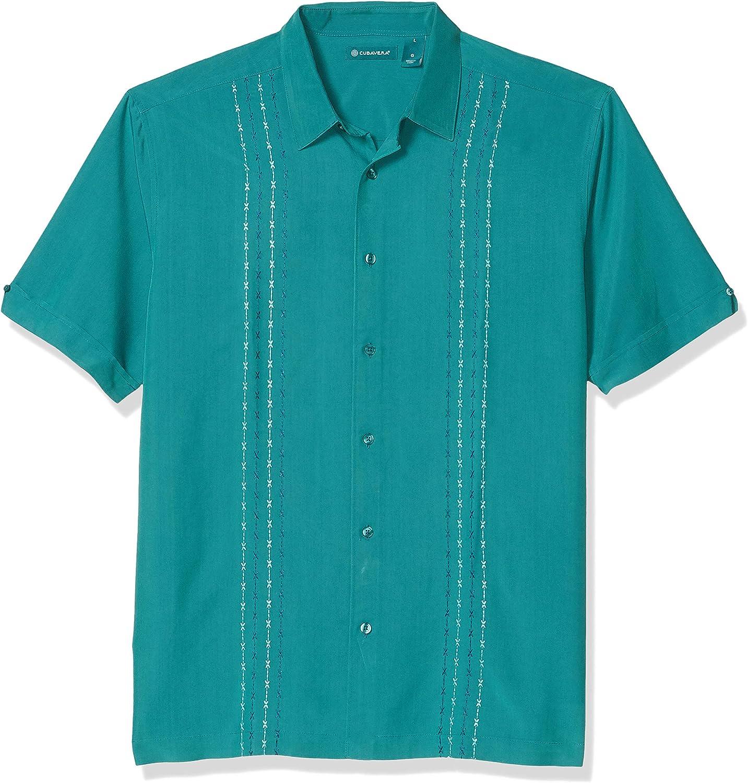 Cubavera Men's Two Tone Geometric Panel Embroidery Short Sleeve Button-Down Shirt