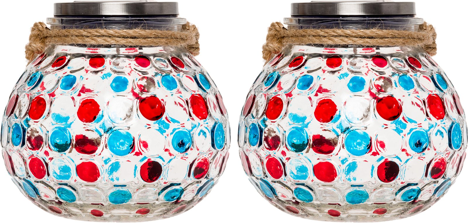 GreenLighting 2 Pack Dotted Solar Jar Light - Decorative LED Glass Table Lantern (Blue/Red)
