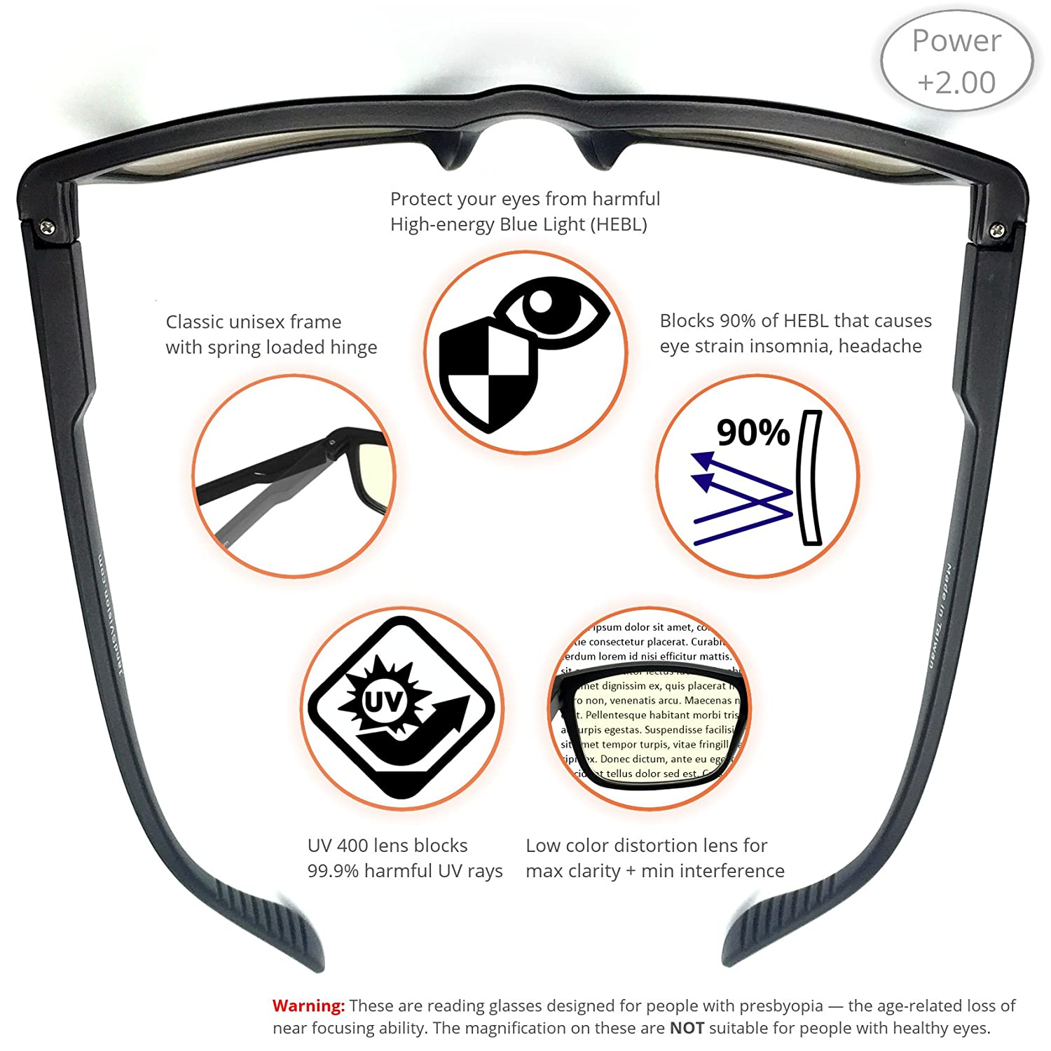 b9f44360650 Amazon.com  J+S Vision Reading Glasses with Anti Blue Light function ...