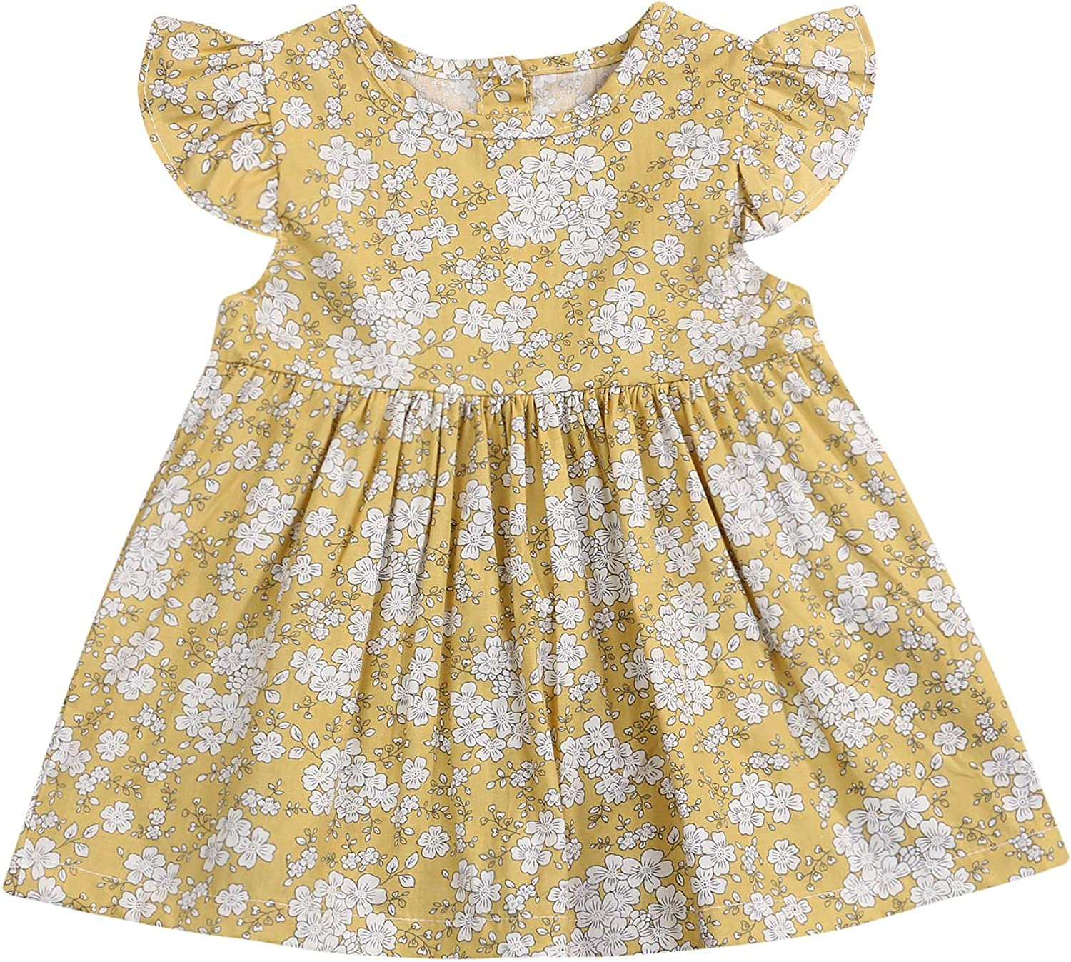 YOUNGER TREE Newborn Infant Baby Girl Summer Dress Flare Sleeves Yellow Floral Princess Dress Sunflower Party Dress