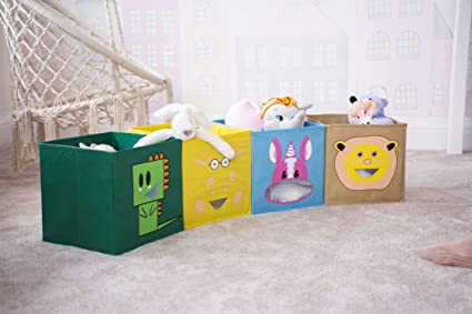 HomeZone/® White 6 Cube Storage Unit with 6 Pink Canvas Folding Boxes Kids Toy Games Girls Boys Bedroom Shelves Shelving Childrens Playroom Nursery Office