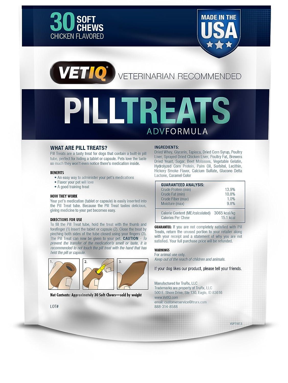 VetIQ Pill Treats, 30 Soft Chews for Dogs, Chicken Flavor, 5 8Oz