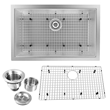 28 Inch 16 Gauge Undermount Single Bowl Stainless Steel Kitchen Sink
