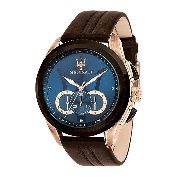 MASERATI Reloj Cronógrafo para Hombre de Cuarzo con Correa en Cuero R8871612024: Amazon.es: Relojes