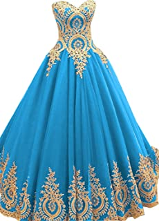 cca54646d9 BessDress Gold Lace Appplique Quinceanera Dresses Long Sleeves Prom Ball  Gown BD389