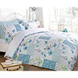 Just Contempo Butterfly Floral Patchwork Duvet Cover Set, King, Blue