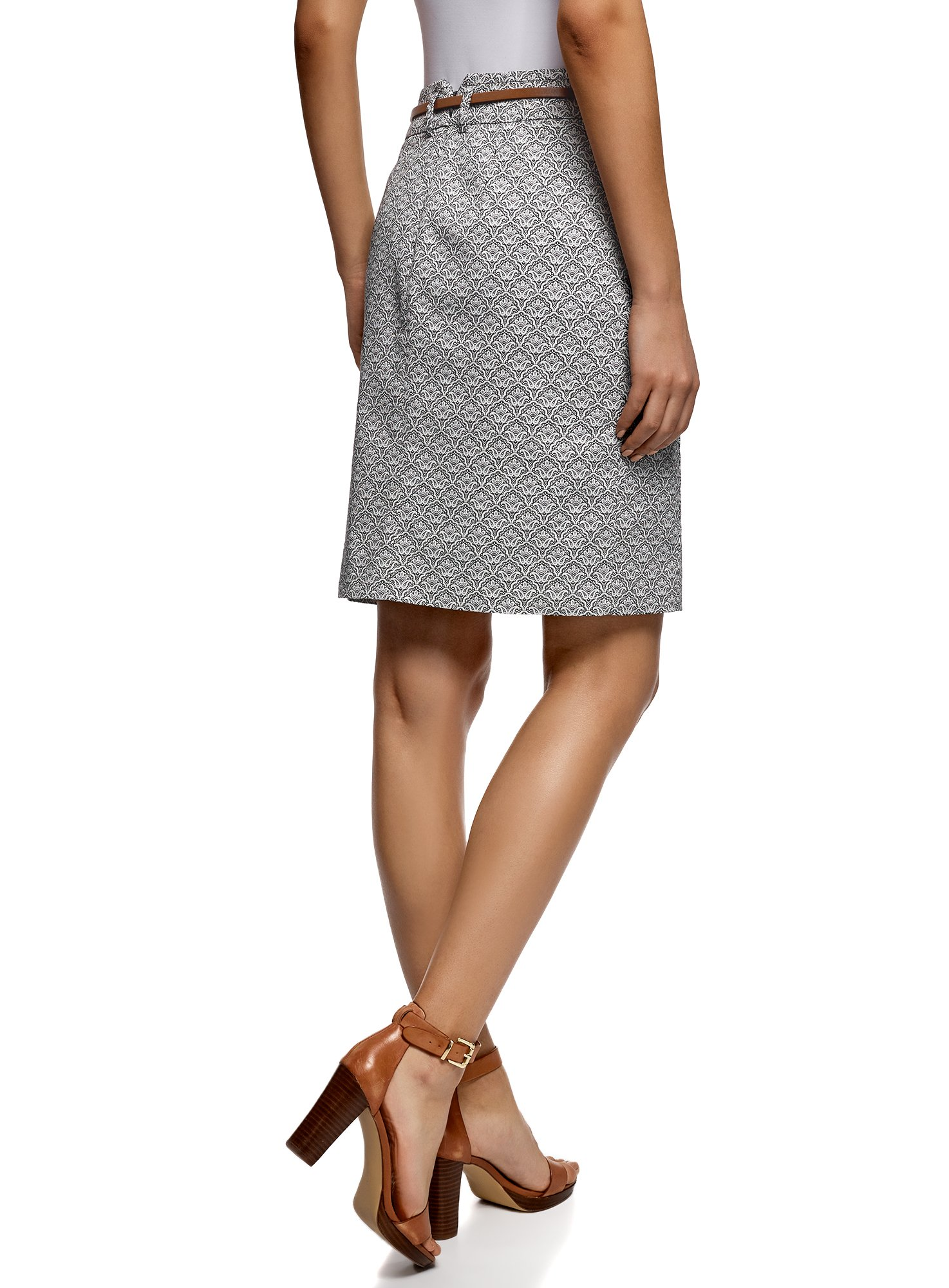oodji Collection Women's Straight Belted Skirt, Grey, 8 by oodji (Image #3)