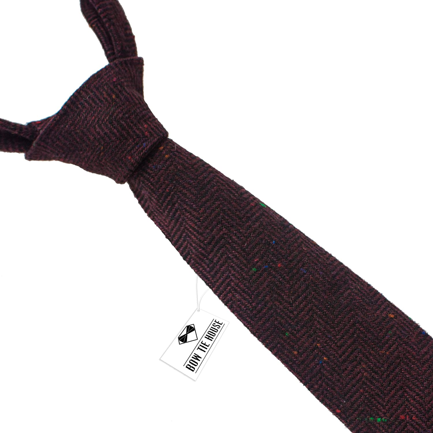 Bow Tie House Men`s Woolen Necktie slim shape & tweed pattern (Brown) 08455