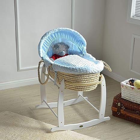 Mcc® Moisés cesta para Bebé recién nacido cesta en Palma natural con sábanas azules en