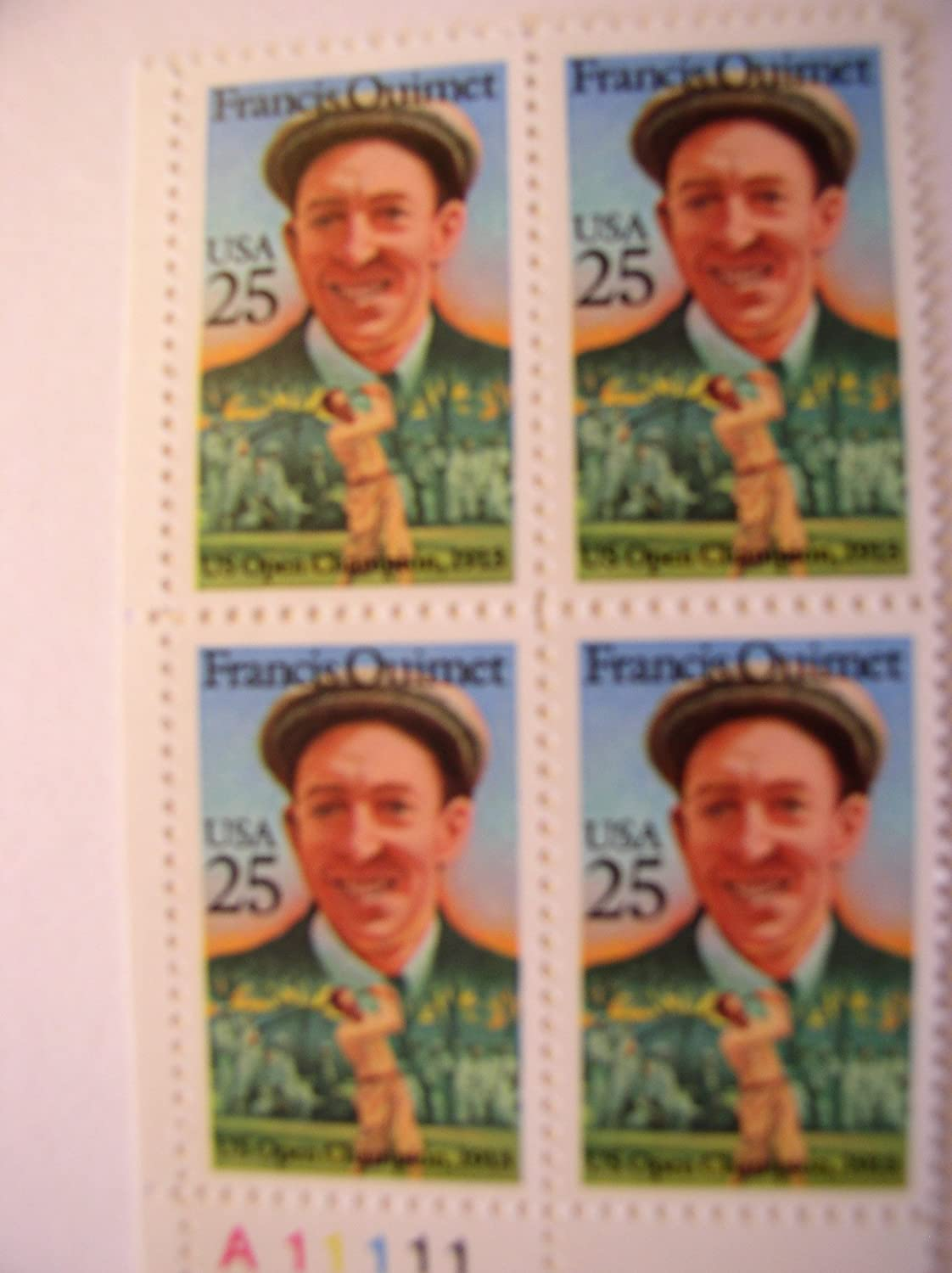 MNH US Postage Stamps Plate Block of 4 25 Cent Stamps Francis Quimet 1988 S# 2377