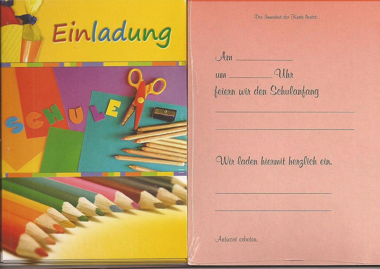 Einladungskarten Einladungen zur Einschulung Schulanfang 5 St/ück mit Innentext und Versandumschlag
