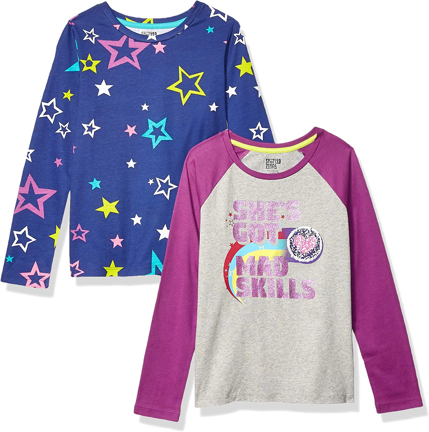 Spotted Zebra Girls Toddler /& Kids 4-Pack Long-Sleeve T-Shirts