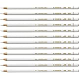 Stabilo 8052 All Coloured Pencil Crayons for Almost All Surfaces, 3.3 mm, White, Pack of 12