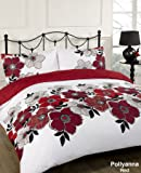 Dreamscene Pollyanna Floral Design Duvet Cover Bedding Set With Pillowcases, Red, King
