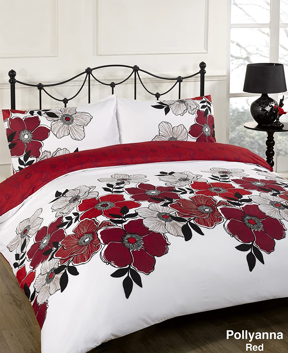 bedding s reversible duvet poppies poppy wild set amp cream loading is itm red image cover check