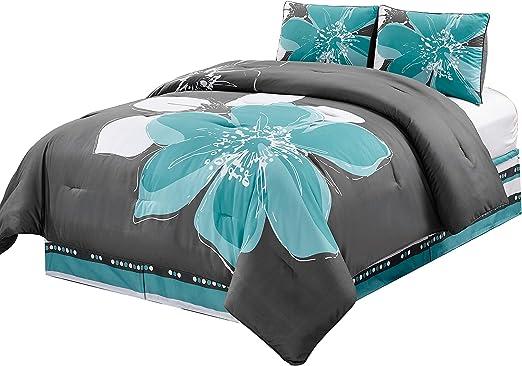 Accent Pillows White 8 Piece Grey Black Hibiscus Floral Comforter Set California Cal King Size Bedding