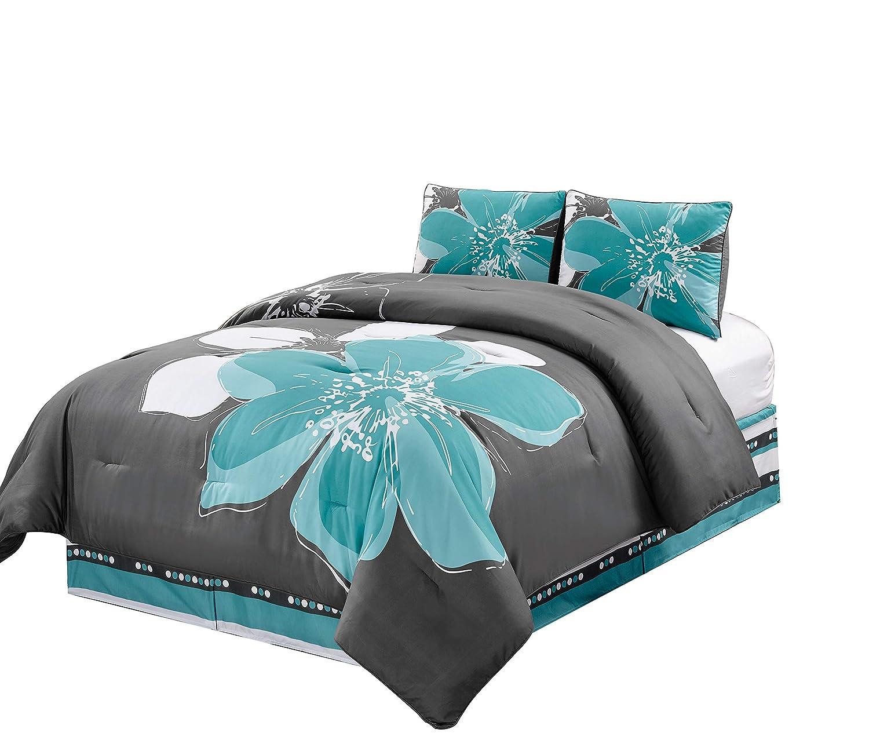 White Hibiscus Floral Comforter Set Full Size Bedding 4 Grey Piece Aqua Blue