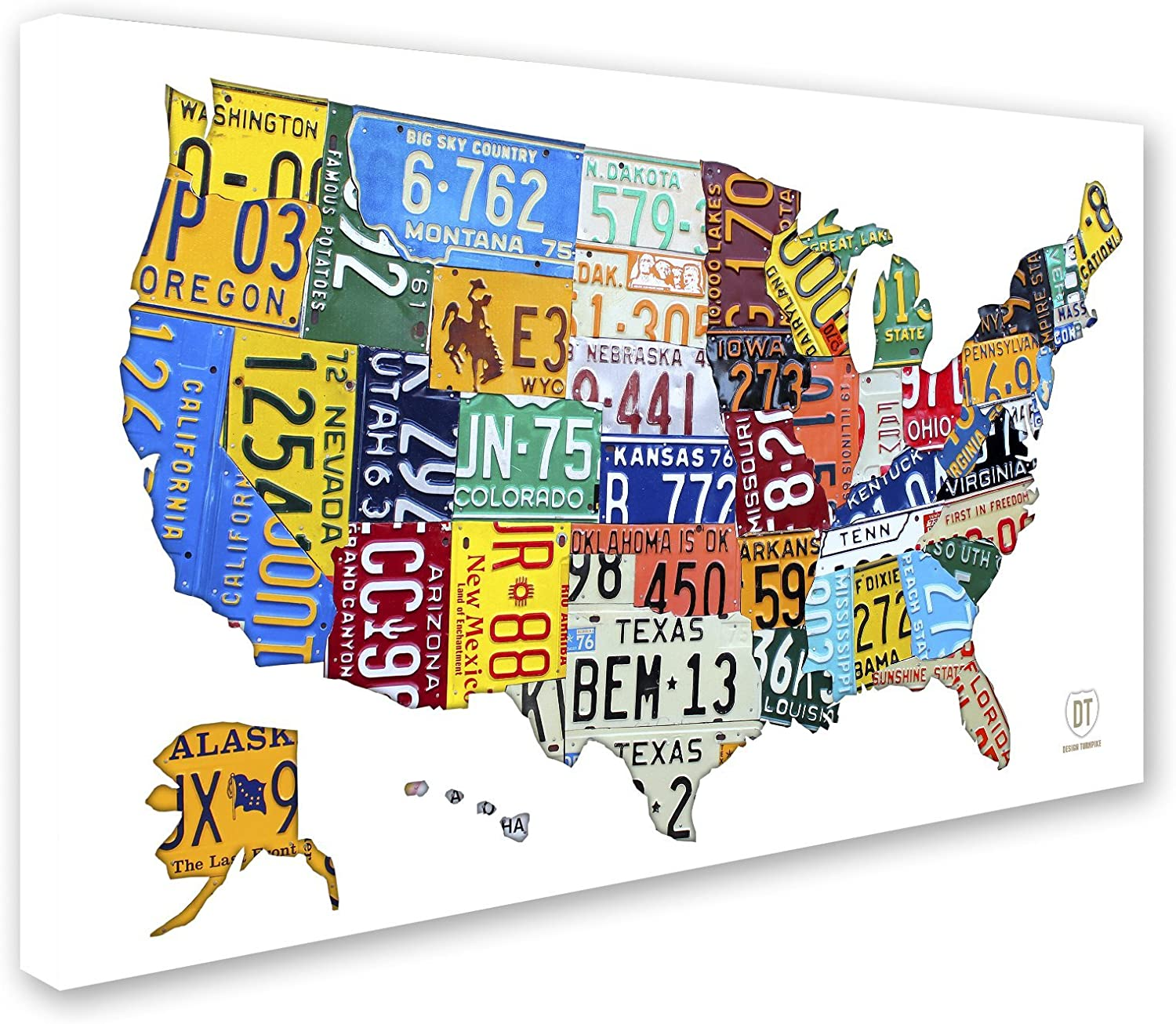 Amazon Com License Plate Map Usa 2 By Design Turnpike 22x32 Inch Canvas Wall Art Posters Prints