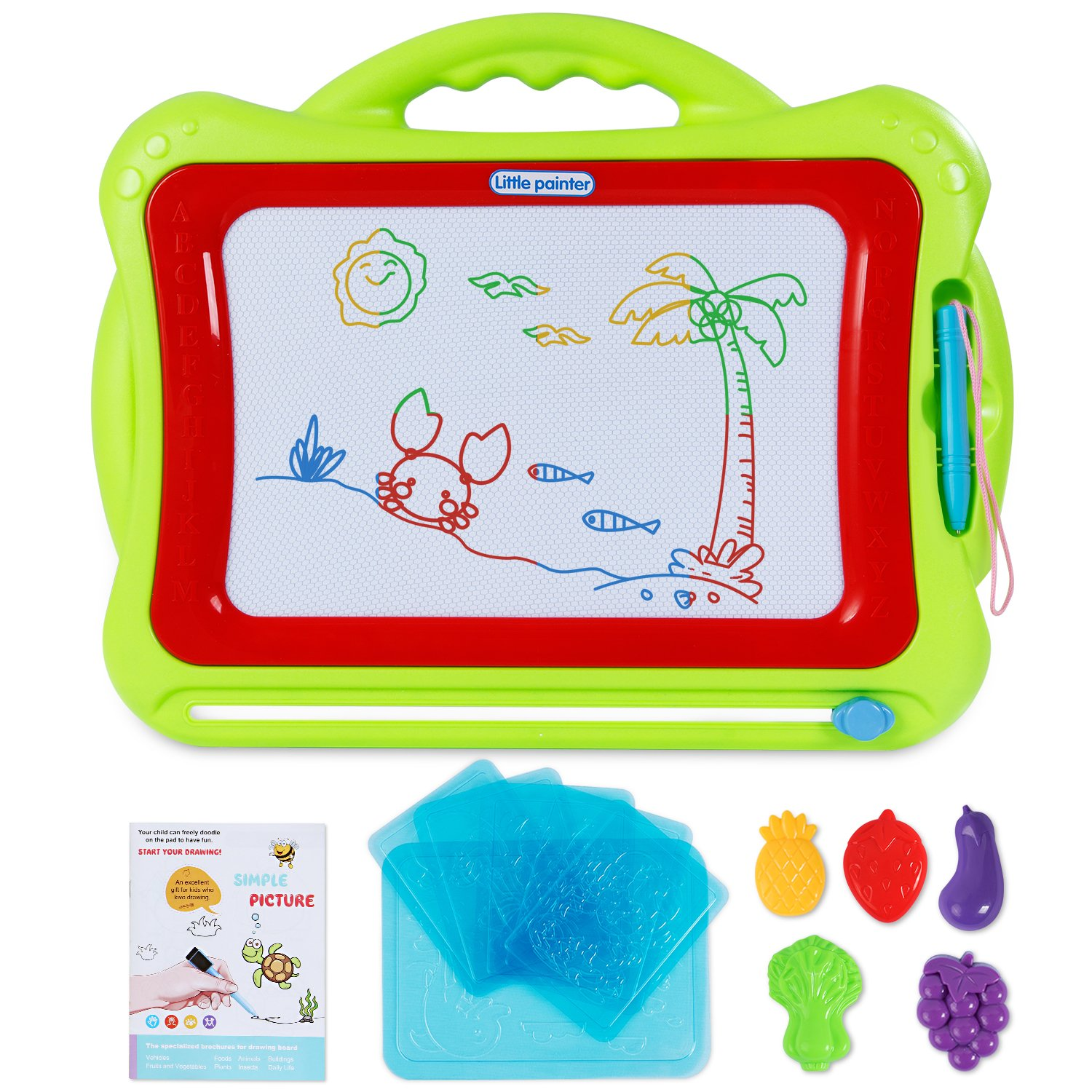 SGILE Large Magnetic Drawing Board for Toddler Kids Preschooler, 16.5X13.2  Erasable Non-Toxic Magna Doodle Drawing Sketching Pad Tablet for Writing Painting Drawing Learning Development, Green