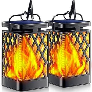TomCare Solar Lights Outdoor Flickering Flame Solar Lantern Outdoor Hanging Lanterns Decorative Outdoor Lighting Solar Powered Waterproof LED Flame Umbrella Lights for Patio Garden Deck Yard, 2 Pack