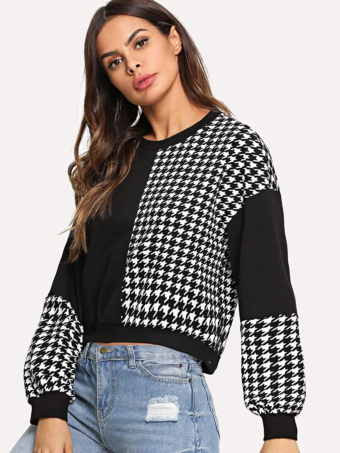 Romwe Womens Casual Cut and Sew Color Block Long Sleeve Round Neck Blouse Sweatshirt