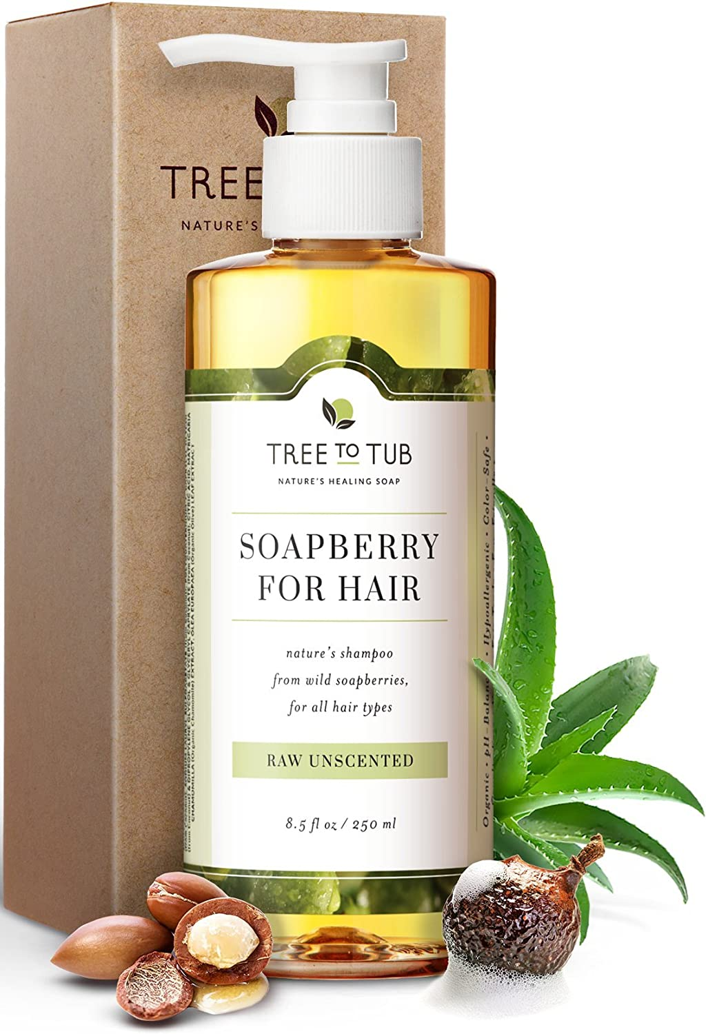 Ultra Gentle Shampoo for Very Sensitive Skin by Tree To Tub | pH 5.5 Balanced & Fragrance Free Shampoo for Damaged Scalp, Psoriasis, with Organic Moroccan Oil, Wild Soapberries 8.5 oz
