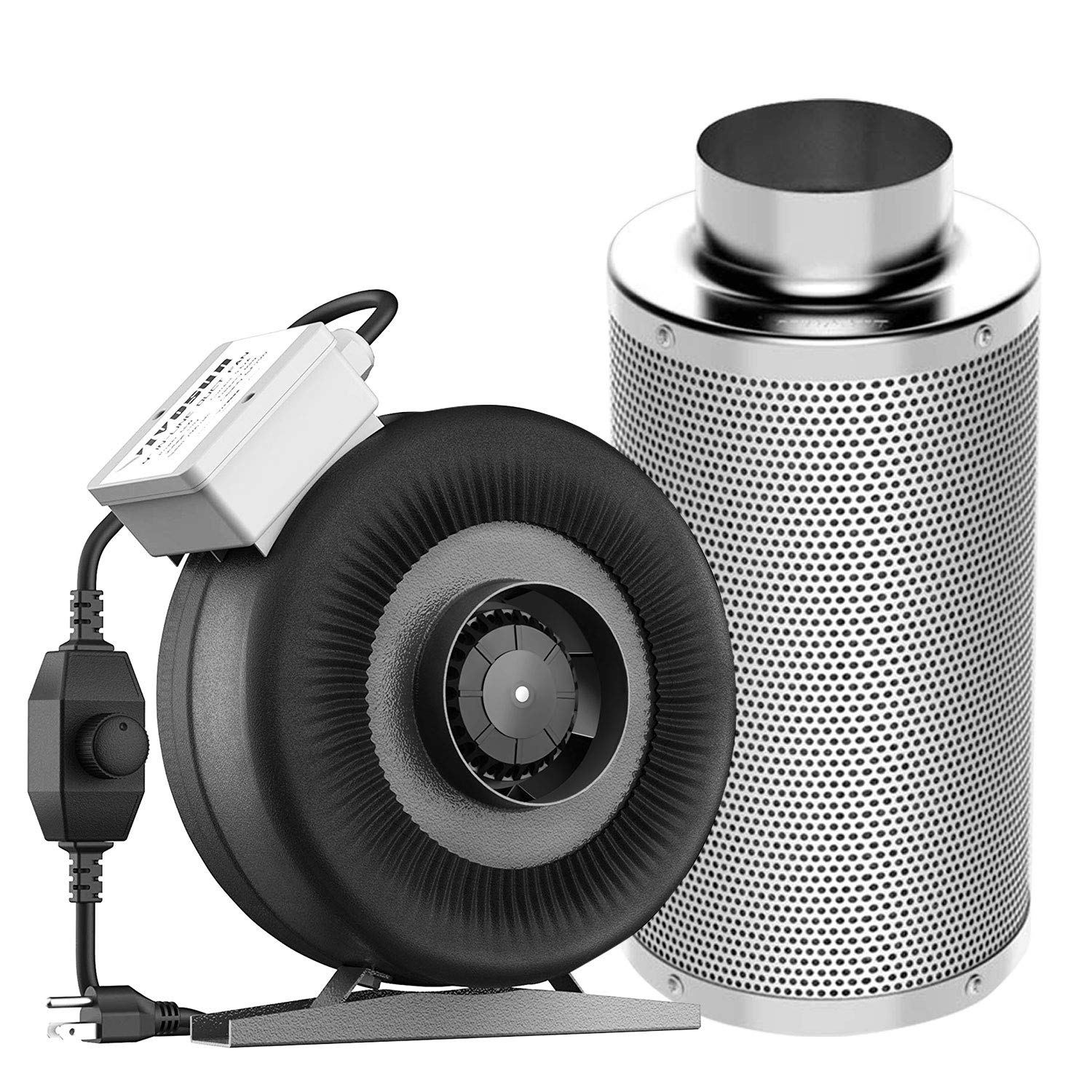 """VIVOSUN 4 Inch 203 CFM Inline Duct Fan with 4""""x 14"""" Carbon Filter Odor Control with Australia Virgin Charcoal"""