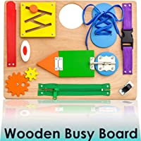Montessori Busy Board for Toddlers - Wooden Travel Toy with Sensory Educational Activities for Fine Motor Skills - Toys for 3 Year Old Boys & Girls