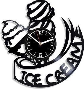 Kovides Ice Cream Vinyl Record Wall Clock Food Kitchen Decoration 12 inch Wall Clock Food Art Gift for Her Ice Cream Wall Art Food Clock Ice Cream Wall Clock Modern Food Gift Ice Cream Vinyl Clock