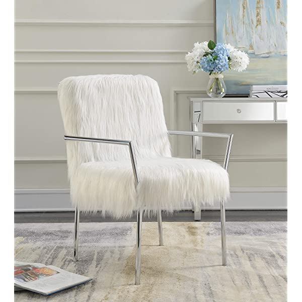 Coaster Home Furnishings 904079 Coaster Contemporary White Faux Sheepskin Accent Chair Chrome