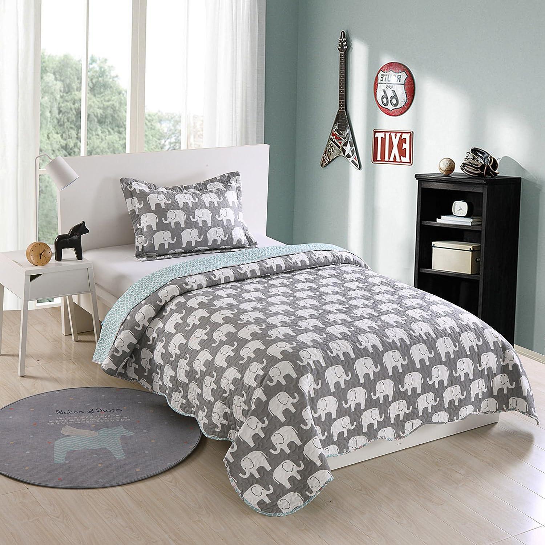 2 Piece Kids Quilt Bedspread Comforter Set Throw Blanket for Teens Boys Girls Kids Beds Bedding Coverlet, Elephant (Twin)