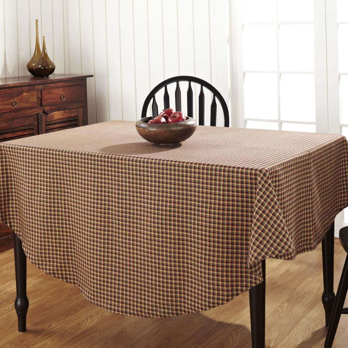 VHC Brands 14640 Patriotic Patch Plaid Table Cloth 70 Round