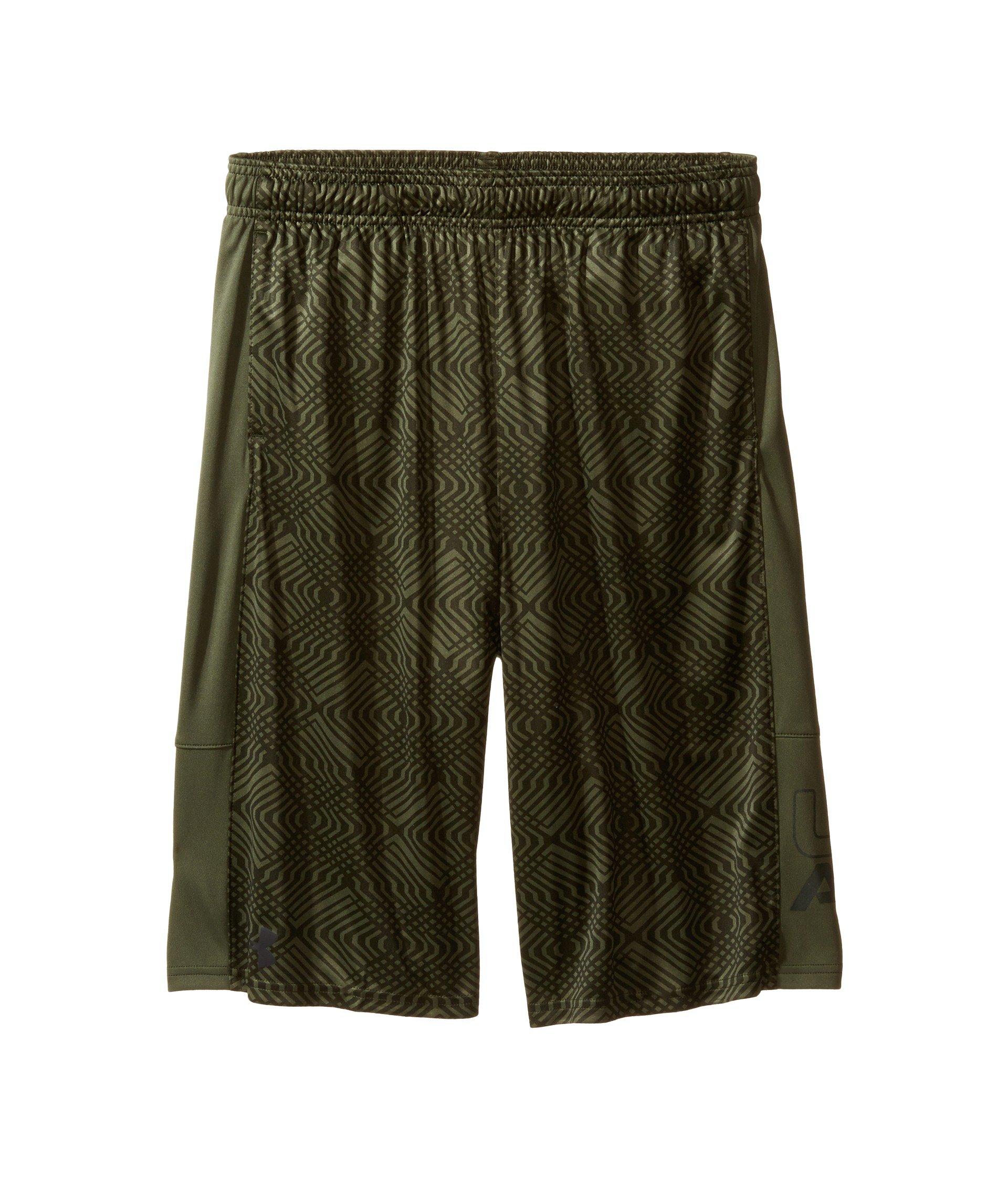 Under Armour Kids Boy's Instinct Printed Shorts (Big Kids) Downtown Green/Downtown Green Shorts by Under Armour